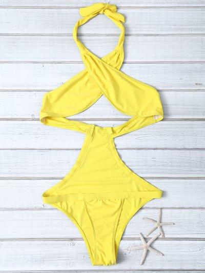 Halter Criss Cross One Piece Swimwear - YELLOW S Mobile