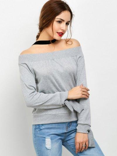 Tied Off Shoulder Sweatshirt - GRAY S Mobile