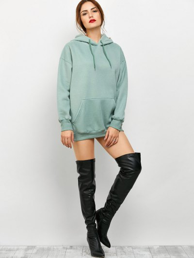 Kangaroo Pocket Fleece Lined Hoodie - LIGHT GREEN XL Mobile