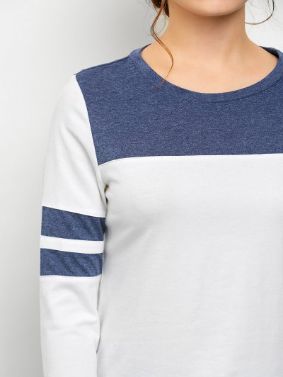 Color Block Space Dyed T-Shirt - WHITE M Mobile