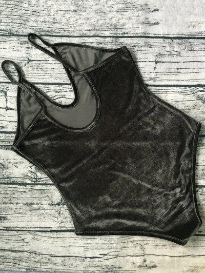 Plunging Neck Slip Velvet Bodysuit - ARMY GREEN L Mobile