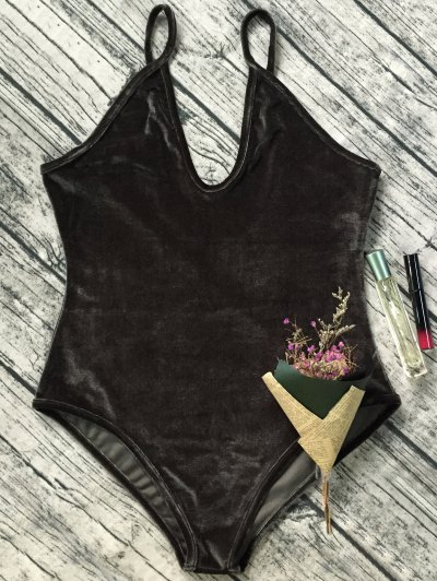 Plunging Neck Slip Velvet Bodysuit - ARMY GREEN M Mobile