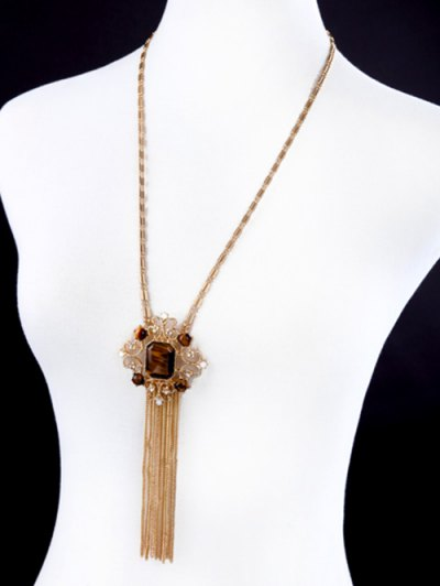 Faux Gem Fringed Sweater Chain - GOLDEN  Mobile