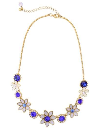 Faux Sapphire Glaze Flower Necklace - BLUE  Mobile