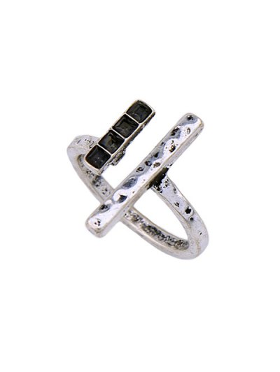 Rhinestone Vintage Ring Set - SILVER ONE-SIZE Mobile