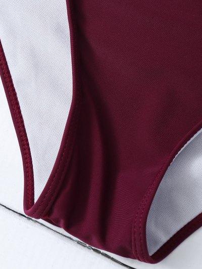 Crochet Trim High Neck Bikini - BURGUNDY XL Mobile