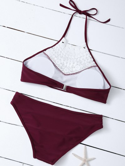 Crochet Trim High Neck Bikini - BURGUNDY M Mobile
