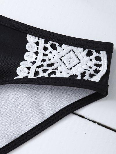 Crochet Trim High Neck Bikini - BLACK XL Mobile