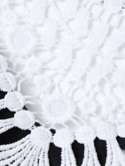 Crochet Trim High Neck Bikini - BLACK L Mobile