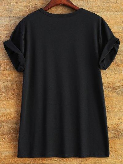 Short Sleeve Letter Pattern T-Shirt - BLACK 2XL Mobile