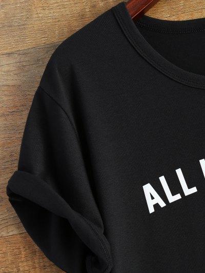 Short Sleeve Letter Pattern T-Shirt - BLACK L Mobile