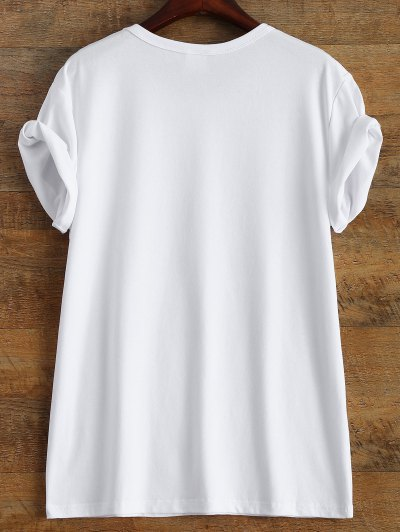 Short Sleeve Letter Boyfriend Streetwear Tee - WHITE L Mobile