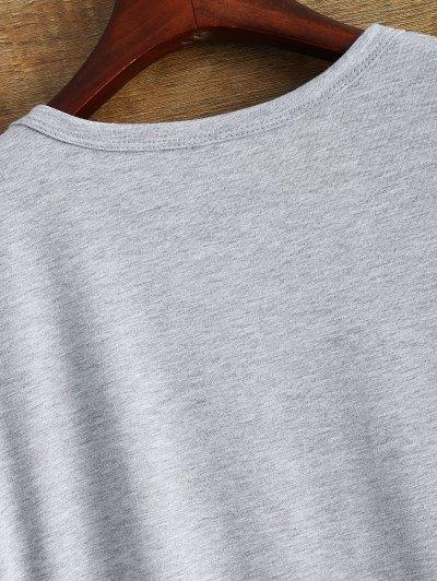 Jewel Neck Letter Boyfriend Tee - GRAY 3XL Mobile