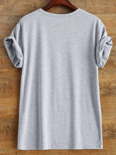 Jewel Neck Letter Boyfriend Tee - GRAY XL Mobile