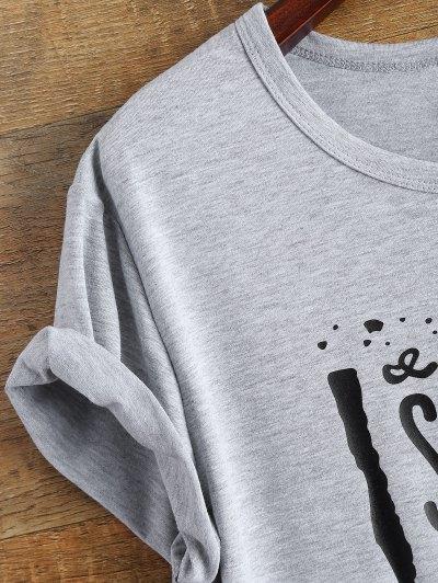 Jewel Neck Letter Boyfriend Tee - GRAY L Mobile