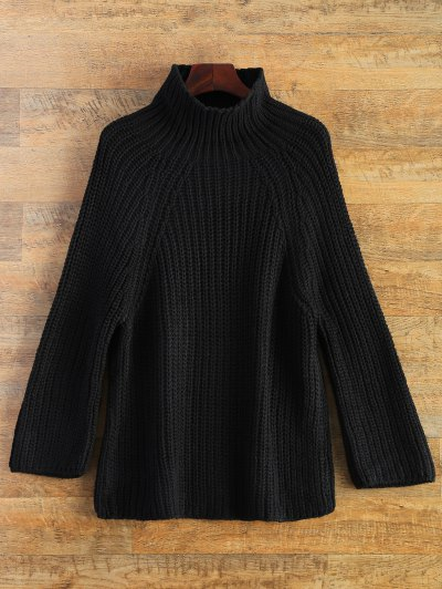 Chunky Funnel Collar Sweater - BLACK ONE SIZE Mobile
