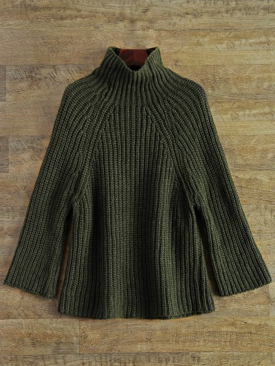 Chunky Funnel Collar Sweater - ARMY GREEN ONE SIZE Mobile