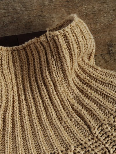 Chunky Funnel Collar Sweater - KHAKI ONE SIZE Mobile