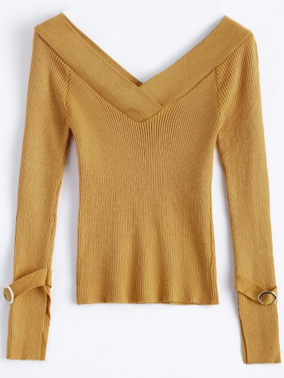 Bare Shoulder V Neck Rib Sweater - EARTHY ONE SIZE Mobile
