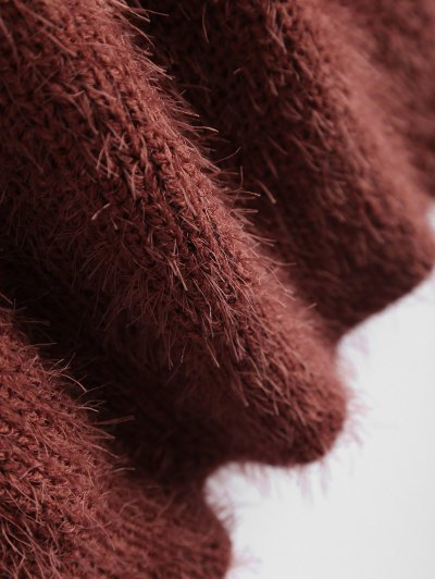 Fluffy Twisted Chenille Sweater - CLARET ONE SIZE Mobile