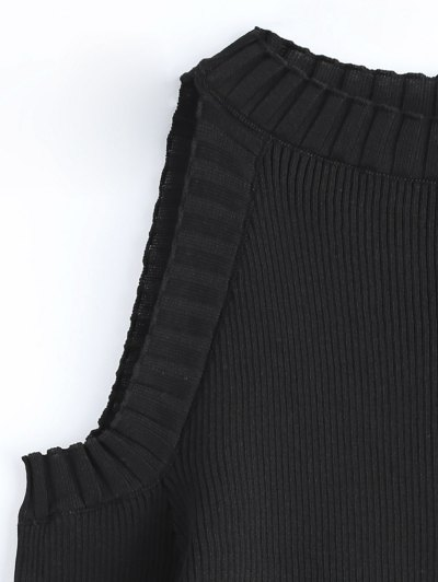 Cutout Open Shoulder Sweater - BLACK ONE SIZE Mobile