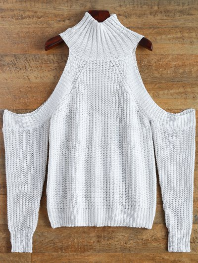 Cutout Open Shoulder Funnel Sweater - WHITE ONE SIZE Mobile