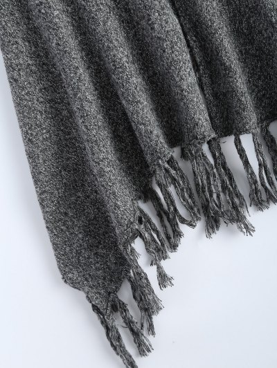 Heathered Tasselled Poncho - GRAY ONE SIZE Mobile