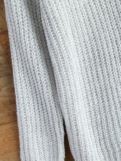 Side Slit Open Knit Basic Sweater - WHITE ONE SIZE Mobile