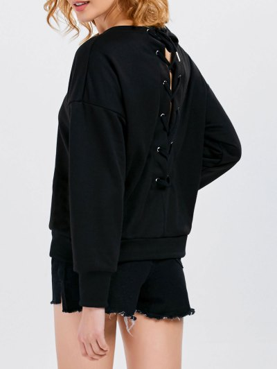 Jewel  Neck Lace Up Sweatshirt - BLACK 2XL Mobile
