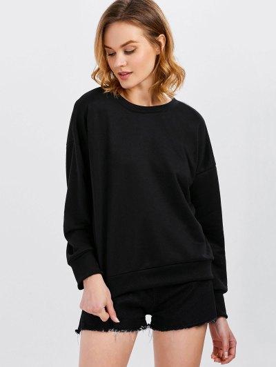 Jewel  Neck Lace Up Sweatshirt - BLACK XL Mobile