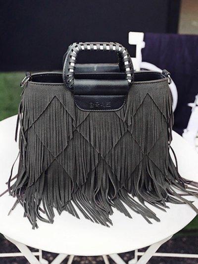 Faux Leather Multi Fringe Handbag - GRAY  Mobile
