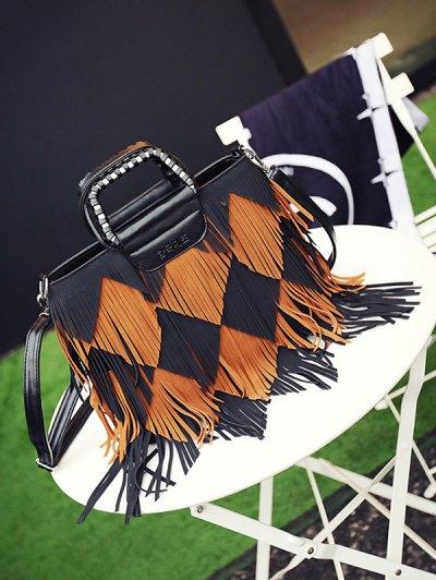 Color Blocking Multi Fringe Handbag - BLACK AND BROWN  Mobile