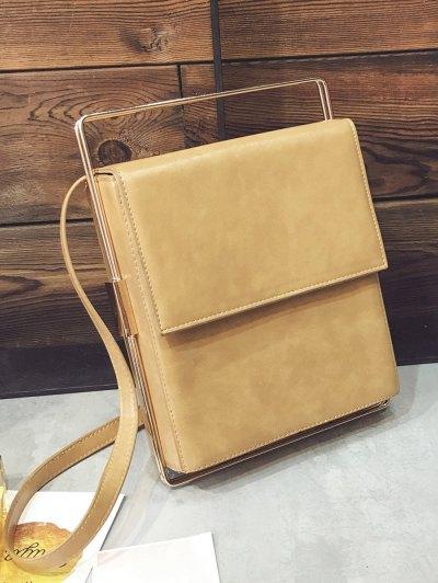 Metal Trimmed Minimal Crossbody Bag - APRICOT  Mobile