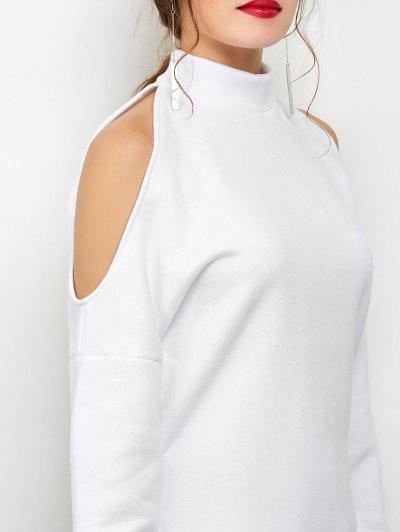 Cold Shoulder High Neck Sweatshirt - WHITE S Mobile