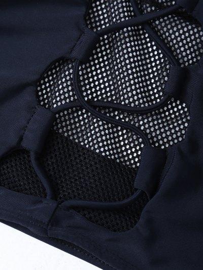 Mesh Panel High Neck Bikini - BLACK L Mobile