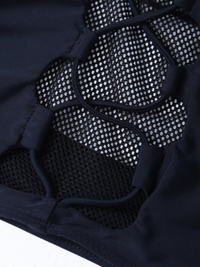 Mesh Panel High Neck Bikini - BLACK S Mobile