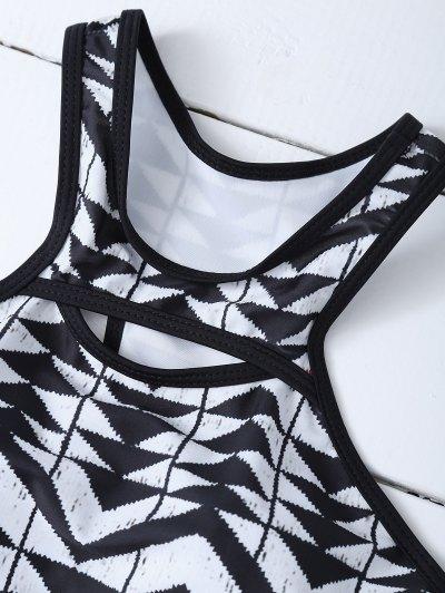 Racerback High Neck Aztec Bikini - WHITE AND BLACK L Mobile