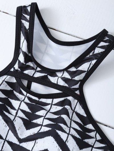 Racerback High Neck Aztec Bikini - WHITE AND BLACK M Mobile