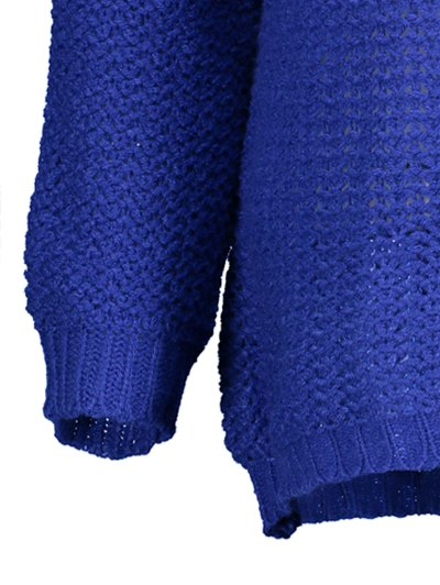 Open Stitch Scoop Neck Sweater - BLUE M Mobile