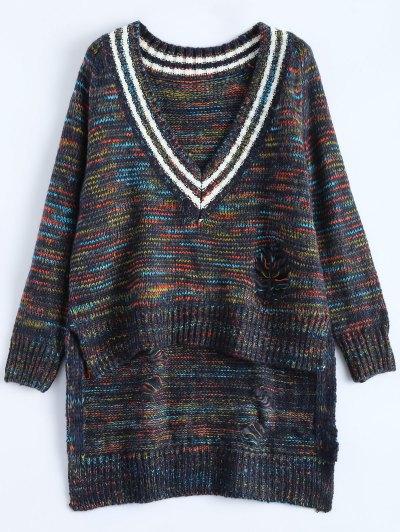 High Low Ripped Heather Sweater - Purplish Blue