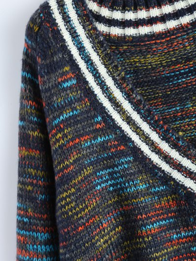 High Low Ripped Heather Sweater - PURPLISH BLUE ONE SIZE Mobile