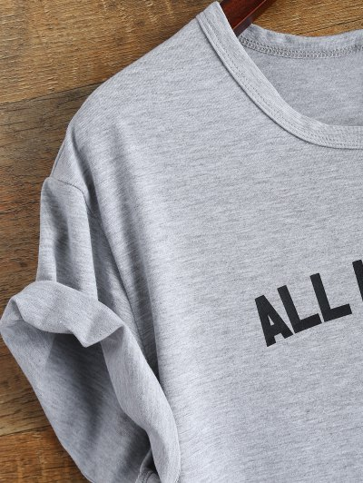 Short Sleeve Text Print Tee - GRAY S Mobile
