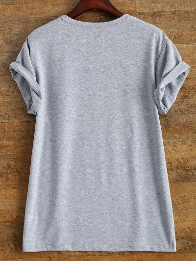 Roll Sleeve Text Print Tee - GRAY S Mobile
