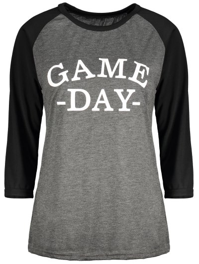 Game Day Baseball Tee - BLACK AND GREY L Mobile