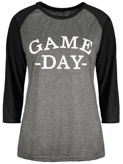 Game Day Baseball Tee - BLACK AND GREY M Mobile