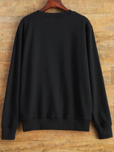 Letter Dirty Hippie Print Sweatshirt - BLACK 2XL Mobile