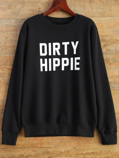 Letter Dirty Hippie Print Sweatshirt - BLACK XL Mobile