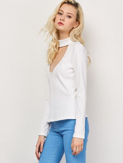 Cut Out High Neck Fitted T-Shirt - WHITE M Mobile