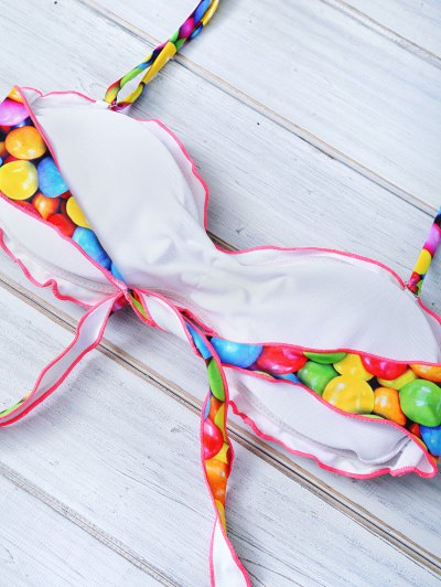 Halter Candy Print Frilled Bikini - COLORFUL M Mobile