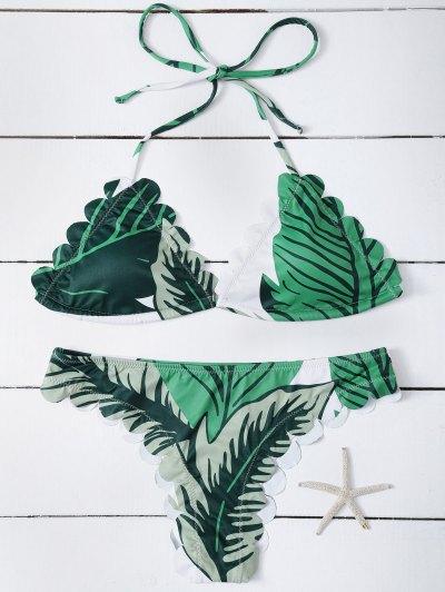 Halter Scalloped Printed Bikini - GREEN L Mobile